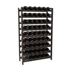54 Bottle Stackable Wine Rack in Redwood with Black Stain + Satin Finish - Three times the capacity at a fraction of the price for the 18 Bottle Stackable. Wooden dowels enable easy expansion for the most novice of DIY hobbyists. Stack them as high as you like or use them on a counter. Just because we bundle them doesn't mean you have to as well!