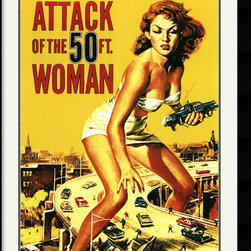 Amanti Art - Attack of the 50 ft. Woman Framed Print - Pop art that really pops, the bright color showcases the slick artwork from this classic science fiction film from the late 50s. A perfect addition for the dorm, bachelor pad, or your entertainment space.