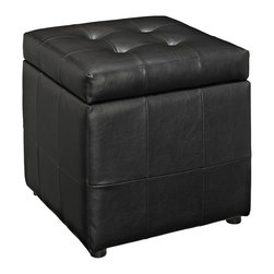Volt Storage Ottoman in Black (EEI-1044-BLK) - The square shape evokes feelings of security and reliance in this compact accent piece you can count on. The Volt ottoman stands ready as a footrest, while the lined storage compartment works great for both regular use, and for a swift run-through before last minute visitors. Volt's boxy design creates a dashing addition to your agile decor. Set Includes: One - Volt Ottoman
