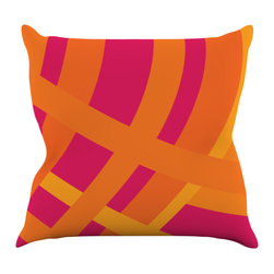 """Kess InHouse - Fotios Pavlopoulos """"Tangled"""" Red Orange Throw Pillow (16"""" x 16"""") - Rest among the art you love. Transform your hang out room into a hip gallery, that's also comfortable. With this pillow you can create an environment that reflects your unique style. It's amazing what a throw pillow can do to complete a room. (Kess InHouse is not responsible for pillow fighting that may occur as the result of creative stimulation)."""