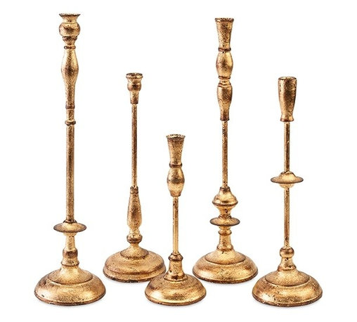 """Imax - Antique Gold Metal Taper Candle Holder - Set Of 5 - *Dimensions: 12.25-16-16.75-20.5-20.75""""h x 4-5.5-5.75""""w x 4.5-5-5.75"""""""