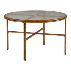 Home Styles - Home Styles Bimini Jim Round Dining Table in a Light Natural Finish-48 Inch - Home Styles - Patio Dining Tables - 556532 - A unique take on bamboo style the Bimini Jim Round Outdoor Dining Table by Home Styles is constructed of extruded aluminum in a light natural finish.