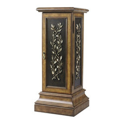 Home Decorators Collection - Corinna Pedestal - The elegant design details of our Corinna Pedestal include a molded top, dark inset panels with carved vine details and a beveled, stepped base. A door at the front of this versatile wood pedestal pulls open to reveal two adjustable shelves, perfect for hiding away seasonal decor items. Wood in light brown finish with black accents. Includes door with two adjustable interior shelves.