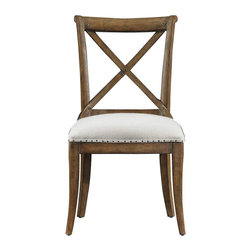 Stanley Furniture - European Farmhouse Fairleigh Fields Guest Chair, Blond - This European Farmhouse Fairleigh Fields Guest Chair is one of the most comfortable chairs designed to provide the aristocratic experience due to its comfortable cushion. This chair is supported across the back with bridle-like bowed slats and the curved design cradles your back and shoulders with smooth support. It has trim; peg-style legs continue the curve into the floor. They all are in support of the double-padded, antique brass-rimmed cushioned seat.