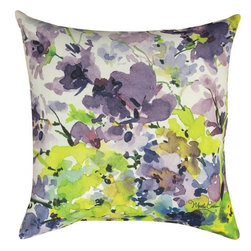 Manual - Pair of `Purple Flower` Floral Print Indoor / Outdoor Throw Pillows - This pair of 18 inch by 18 inch woven throw pillows adds a wonderful accent to your home or patio. The pillows have ClimaWeave weatherproof exteriors, that resist both moisture and fading. The pillows feature the same `Purple Flower` watercolor floral print, by artist Martha Collins, on both front and back. They have 100% polyester stuffing. These pillows are crafted with pride in the Blue Ridge Mountains of North Carolina, and add a quality accent to your home. They make great gifts for flower or bird lovers.
