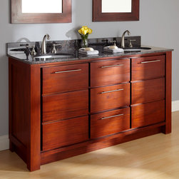 "60"" Venica Mahogany Double Vanity for Undermount Sink - Redefine a bathroom with the magnificent 60"" Venica Mahogany Double Vanity. This spacious vanity features the option to customize with a luxurious stone top and porcelain sinks."