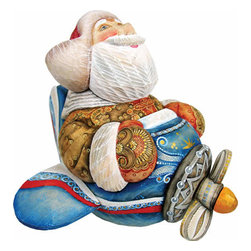 "Fly Me to the Moon Santa Claus Artistic Wood Carved Sculpture - Measures 8""H x 8.75""L x 6.5""W and weighs 4 lbs. G. DeBrekht fine art traditional, vintage style sculpted figures are delightful and imaginative. Each figurine is artistically hand-painted with detailed scenes including classic Christmas art, winter wonderlands and the true meaning of Christmas, nativity art. In the spirit of giving G.DeBrekht holiday decor makes beautiful collectible Christmas and holiday gifts to share with loved ones. Every G. DeBrekht holiday decoration is an original work of art sure to be cherished as a family tradition and treasured by future generations. Some items may have slight variations of the decoration on the decor due to the hand painted nature of the product. Decorating your home for Christmas is a special time for families. With G. DeBrekht holiday home decor and decorations you can choose your style and create a true holiday gallery of art for your family to enjoy. All Masterpiece and Signature Masterpiece woodcarvings are individually hand numbered. The old world classic art details on the freehand painted sculptures include animals, nature, winter scenes, Santa Claus, nativity and more inspired by an old Russian art technique using painting mediums of watercolor, acrylic and oil combinations in the G. Debrekht unique painting style. Linden wood, which is light in color is used to carve these masterpieces. The wood varies slightly in color."
