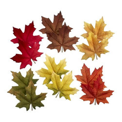 Scatter Leaves Set of 12 - Accent buffet, table or mantel with a scattering of handmade autumnal leaves. Set of 12 includes two of each color: red, orange, yellow, gold, green and brown.