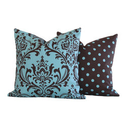 Sweet Blue and Chocolate Too Collection Throw Pillow l Chloe and Olive - Chloe & Olive