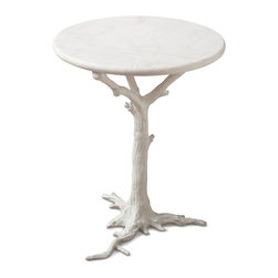 Kathy Kuo Home - Bijou Global Bazaar White Tree Branch Iron Marble Round Accent End Table - Contrasting the textures of a rough, iron tree branch with sleek, polished white marble, this petite piece belongs in an art gallery. Whether it finds a home in your entryway, next to a loveseat, or nestled in a corner, this beautiful, round accent brings the best of both modern and rustic styles to the table.