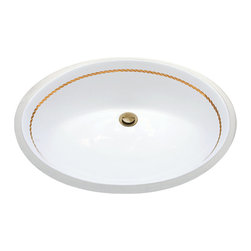 Decorated Porcelain Company - Rope Border Hand Painted Vanity Basin - Real metallic gold rope border on this sink and coordinates with virtually any bathroom, guest bath or powder room interior. Works great on an undermount sink in a vanity with a marble or granite counter top. Can be applied to any shape of basin or lavatory and also fits nicely around a toilet tank or lid.