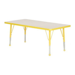 "Mahar - Small Rectangle Creative Colors Activity Table - This durable rectangle activity table is perfect for your classroom. The bright high pressure laminate surface comes in your choice of seven finishes and your choice of a ball or a self-leveling glide with matching leg uppers in eleven trims. Moisture will not soak through the surface and the laminate is safe, non-toxic, and stain resistant. Gum and other substances are easily removed and the durable rounded edges eliminate sharp corners. Features: -Your choice of a ball or a self-leveling glide. -Simple assembly. -Legs ship separate from top. -NOTE: Orders of multiple products from Mahar may be shipped by truck frieght. We do this to help reduce shipping damage. This will not affect the cost to you, however does mean you will need to be more involved in the delivery. Please call us if you have any questions.. -All tabletops are 1.13"" thick. -Adjustable leg heights in 1"" increments. -Toddler leg size adjusts from 16""- 24"". -Standard leg size adjusts from 25"" - 30""."