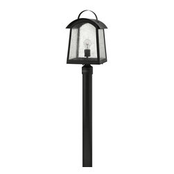Hinkley Lighting - Hinkley Lighting 2651BK Putney Bridge Outdoor - Putney Bridge is a classic Shaker-inspired style constructed of durable solid aluminum.  The generous panels of dense seedy glass, forged metal roof and classic rivet construction combine with a bold Black finish to complete this authentic design.