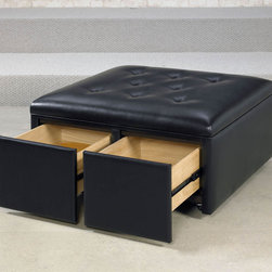 """Hammary - Hidden Treasures Square Cocktail Ottoman/Cantina Black - Hammary's Hidden Treasures collection is a fine assortment of unique accent pieces inspired by some of the greatest designs the world over. Each selection is rich in Old World icons and traditions. Every piece in this collection is crafted with the upmost attention to fine details. Each item is a work of art from brass nailhead trim and exquisite hand-painting to elegant shaping and decorative trim. Wide varieties of materials are used to create a perfect look and fine quality which includes exotic woods, leather, and stone to raffia and glass. The wide variety of finishes, hardware, beautiful carvings and other final touches offer unmatched versatility for any room in your home. Hidden Treasures features cocktail tables, occasional and accent pieces, trunks, chests, consoles, wine racks, desks, entertainment units and interesting storage pieces. Place one in a comfortable reading nook, in the family room for flair and variety, in the foyer for a welcome look, in a bedroom for a cozy style, or in the office for function and versatility. The pieces in this collection mix beautifully with any decorating style and will easily become the focal point in any setting.. Hidden Treasures Square Cocktail Ottoman/Cantina Black; Castered; 2 Storage Drawers; Dimensions: 38""""W x 38""""D x 19""""H"""