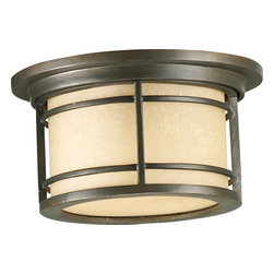 Quorum Lighting - Quorum Lighting Larson Transitional Outdoor Flush Mount Ceiling Light X-68-11-61 - A blend of influences, including nautical and mission, create this visually appealing and charming Quorum Lighting outdoor flush mount ceiling light. From the Larson Collection, this stunning design pairs an amber scavo glass diffuser with an Oiled Bronze finish, creating a luxurious and rich look.