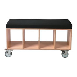 OFFI Bench Box - This bench will work very hard for you - it will support your weight when you need a seat, it provides storage, and you can roll it all over the place (perhaps you take the cushion off and becomes a coffee table). It's a regular giving tree!