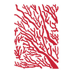 """Home Decor - Coral - Flock Wall Decals - This beautiful red coral applique comes with a fuzzy flock finish. Bring a natural aquatic element to your decor with this velvety coral wall decal. Each pack comes on a 39.4"""" x 27.5"""" sheet. Imported from Italy"""
