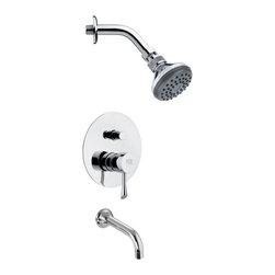 Remer - Sleek Modern Chrome Tub and Shower Faucet Set - Single function tub and shower faucet.