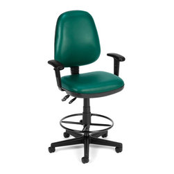 OFM - Posture Vinyl Adjustable Task Chair w Arms & Drafting Kit (Black) - Color: Black. 7 position adjustable height arms. Built-in lumbar support. Back support adjustment (tilts). Back height adjustment. Gas lift seat height adjustment. Molded polypropylene back. Anti-bacterial, anti-microbial vinyl. Drafting kit included. 3 in. thick vinyl padded seat. Meets or exceeds ANSI/BIFMA safety standards. Weight capacity: 250 lbs.. Pictured in Teal. Base size: 5 Star - 25 in. . Seat size: 19.5 in. W x 18 in. D. Back size: 18.5 in. W x 21 in. H. Seat height: 23 in. - 27 in. or 27 in. - 31 in. . Overall height: 41 in. - 45 in. or 45 in. - 49 in. . Overall: 25 in. W x 24 in. DSeat height adjusts instantly! Arm and back rest heights adjust, too. Built-in lumbar support - instant pitch adjustable back assures day-long comfort. Also has adjustable height arms and the drafting kit adds height and a foot rest. The vinyl covering is easy to maintain in high-use environments. The anti-bacterial, anti-microbial vinyl covering is great for keeping rooms germ-free!