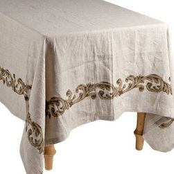 GG Collection Linen Table Cloth with Scroll Design - Small - The perfect table cloth for the urban rustic dining room, this Gerson GG Collection Linen Table Cloth with Scroll Design – Small features a classic scrollwork design that's inspired by Old-World elegance. Available in your choice of sizes, this luxurious 100% linen table cloth is safe for machine washing and tumble drying.