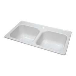"""Lyons - Lyons Deluxe DKS01J1-3.5 Acrylic Kitchen Sink - Lyons Industries Manufactured or Mobile home white acrylic kitchen sink with two large 9"""" deep sink bowls and a single faucet hole. This self rimming 33""""X19"""" sink is easy to install as a remodel or new construction project. This sturdy sink has durable easy to clean high gloss acrylic construction with a fiberglass reinforced insulation backer. This sink is quiet and provides a superior heat retention than other sink materials meaning your dish water stays warm longer. Lyons sinks come with a simple mounting tab and clip system to firmly fasten the sink to the countertop and reinforced drain areas for safely supporting a garbage disposal. Detailed installation instructions include the cut-out specifications. Lyons sinks are proudly Made in America by experienced artisans supporting our economy."""