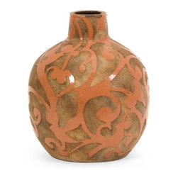 Orange Scrolls Short Vase - *Rustic elegance imbues the Short Cresty Vase with natural appeal with its raw earthenware body decorated in a coral colored glazed bird and vine pattern.