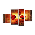 """Fabuart - """"Dancing Flowers"""" - Red Floral Art Painting - 50 x 32in - HandPainted on Canvas - Add the movement of nature to your decor with this red flower painting. Its use of yellow and orange colors also add a depth to the artwork. It can be yours today, just find its full details and dimensions below."""