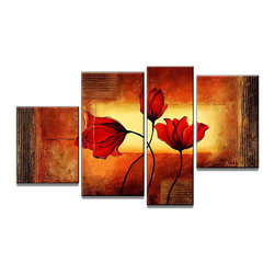 "Fabuart - ""Dancing Flowers"" - Red Floral Art Painting - 50 x 32in - HandPainted on Canvas - Add the movement of nature to your decor with this red flower painting. Its use of yellow and orange colors also add a depth to the artwork. It can be yours today, just find its full details and dimensions below."