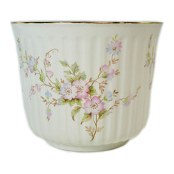 Lavish Shoestring - Consigned Pink Fluted Flower Planter by Victoria China, Vintage English - This is a vintage one-of-a-kind item.