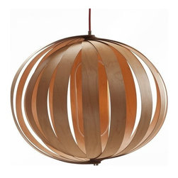 ParrotUncle - Wood Lantern 40W Restaurant Saloon Pendant Lighting, Large - Consisting of 18 panels of clear varnished wood with a radiant core of 7 sockets, the Saloon Pendant Lamp is a warm and organic modern chandelier.