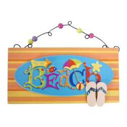 "WL - 5.75 Inch ""Beach"" Blue with Orange Stripes Beaded Door Hanger Sign - This gorgeous 5.75 Inch ""Beach"" Blue with Orange Stripes Beaded Door Hanger Sign has the finest details and highest quality you will find anywhere! 5.75 Inch ""Beach"" Blue with Orange Stripes Beaded Door Hanger Sign is truly remarkable."