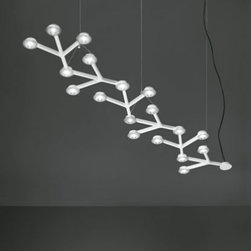 """Artemide - Artemide LED Net Line 125 Suspension Light - The LED Net Line 125 Suspension Light has been designed by Michele de Lucchi and Alberto Nason and made by Artemide in Italy. This fixture is available in a linear configuration resembling a combination of a circuit board and flat tree branches. Composed of of aluminum with a painted white finish. Lamping is provided by 18 LED's that operate under 41W of power to create a very energy efficient light.  Product Details:    The LED Net Line 125 Suspension Light has been designed by Michele de Lucchi and Alberto Nason and made by Artemide in Italy. This fixture is available in a linear configuration resembling a combination of a circuit board and flat tree branches. Composed of of aluminum with a painted white finish. Lamping is provided by 18 LED's that operate under 41W of power to create a very energy efficient light.   Details:     Manufacturer:  Michele de Lucchi and Alberto Nason   Designer:  Artemide     Made in:  Italy     Dimensions:   Height: 78 3/4"""" (200 cm) X Diameter: 49"""" (125 cm)     Light bulb:   18 x 2.3W LEDs     Material:  aluminum"""