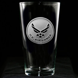 Crystal Imagery, Inc. - Air Force Glassware, Engraved Military Glasses Set - Engraved Air Force Pub glass, makes a perfect gift for military retirements, graduations and promotions. At 16 oz, our pub glass will hold plenty of your favorite beverage. Dishwasher safe. Made in the USA. SOLD AS A SET OF 4.