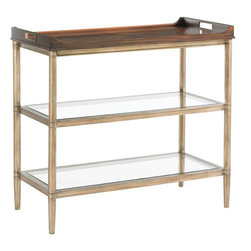Lexington - Lexington Tower Place Bartlett Tiered Server - The stationary book matched walnut tray is adorned with elegant brushed rose gold finished metal handle inserts. The metal base with gold leaf finish suspends two polished edge tempered glass shelves.
