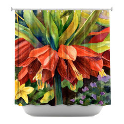 DiaNoche Designs - Shower Curtain Artistic - Fritillaria - DiaNoche Designs works with artists from around the world to bring unique, artistic products to decorate all aspects of your home.  Our designer Shower Curtains will be the talk of every guest to visit your bathroom!  Our Shower Curtains have Sewn reinforced holes for curtain rings, Shower Curtain Rings Not Included.  Dye Sublimation printing adheres the ink to the material for long life and durability. Machine Wash upon arrival for maximum softness on cold and dry low.  Printed in USA.