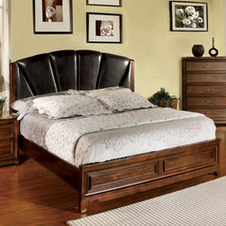 Hokku Designs - Brunswick Panel Bed - With its rustic solid wood richly finished in an antique oak stain and generously cushioned headboard, the Brunswick collection is a smart solution to keeping the bedroom elegant and stylish. Features: -Brunswick collection. -Distressed antique oak finish. -Material: Leatherette, solid wood and wood Veneer. -Thickly padded and tightly upholstered in luxurious leatherette. -Topped with decorative molding. -Hand distressed in exclusive antique oak stain for an aged and weathered appearance. -Exposed feet have a multi-application antique oak stain. -Transitional style.