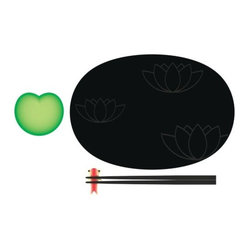 Alessi - Lily Pond Sushi Set by Alessi - The Alessi Lily Pond Sushi Set, designed by Stefano Giovannoni, is a playful sushi set that includes a large plate and chopsticks made from melamine, a small plate for soy sauce and fish shaped chopstick rest made from bone china. Pair with the Lily Bird soy sauce container and Lotus small bowl, both available separately, for the complete sushi experience. The Lily Pond Sushi Set is part of the OrienTales collection which is reminiscent of 18th century ceramic trinkets while still being utterly functional and contemporary. Alessi is an Italian company. Its corporate mission is to bring a utopian priority to affordable, high design for the home and office.The Alessi Lily Pond Sushi Set is available with the following:Included Features: