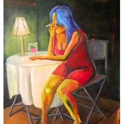 Corner Table (Original) by Chris Berger - A lonely night out