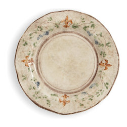 Arte Italica - Medici Dinner Plate - Dinner is served. Set the perfect table with these beautiful hand-painted plates. They're made by hand in Italy, so you'll notice slight variations in color and size. Each is decorated with a vine motif and fleur-de-lis in saturated hues of green, blue and orange.