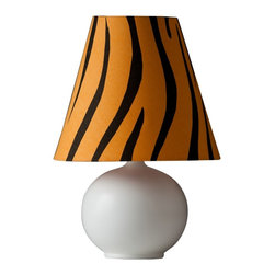 """Lamps Plus - Contemporary Zaida Small Fire Zebra Stripe Table Lamp - Exotic casual small table lamp. Off-white half-matte glaze finish. Fire cotton shade with zebra stripe print pattern. Ceramic construction. Round base. In-line switch. Takes one maximum 60 watt or equivalent bulb (not included). 14"""" high. Base is 9"""" wide. Shade is 6"""" across the top 9"""" across the bottom and 8"""" high.  Exotic casual small table lamp.  Off-white half-matte glaze finish.  Fire cotton shade with zebra stripe print pattern.  High-fire porcelain construction.  Round base.  In-line switch.  Accent lamp small size.  Takes one maximum 60 watt or equivalent bulb (not included).  14"""" high.  Base is 9"""" wide.  Shade is 6"""" across the top 9"""" across the bottom and 8"""" high."""
