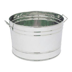 Achla Round Stainless Steel Tub - The Round Stainless Steel Planting Tub is a dressed-up version of traditional galvanized farm pails. This tub will retain its shiny finish even in harsh climates. Equipped with convenient side handles this tub is great for a variety of uses. Fill with ice for chilling beverages or use to hold potted plants. Drainage holes should be drilled for direct planting. About ACHLA DesignsThis item is created by ACHLA Designs. ACHLA is a garden accessories company that emphasizes unique wood and hand-forged wrought iron European furnishings for the home and garden. ACHLA Designs continues to add beautiful and unique items year after year resulting in an unusually large product line. All ACHLA products are stocked in the company's warehouse for year-round prompt shipping. ACHLA Designs takes great pride in offering exceptional products and customer service.