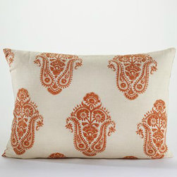 Burnt Orange Block Print Lumbar Pillow - What a pretty print for spring! I love the contrast of orange and white. Pair with bright drapes and it's a great spring statement.