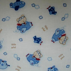 "SheetWorld - SheetWorld Fitted Pack N Play Sheet - Little Pilot - Made in USA - This luxurious 100% cotton ""woven"" pack n play (large) sheet features the cutest Little Pilot print. Our sheets are made of the highest quality fabric that's measured at a 280 tc. That means these sheets are soft and durable. Sheets are made with deep pockets and are elasticized around the entire edge which prevents it from slipping off the mattress, thereby keeping your baby safe. These sheets are so durable that they will last all through your baby's growing years. We're called sheetworld because we produce the highest grade sheets on the market today. Size: 29.5 x 42."