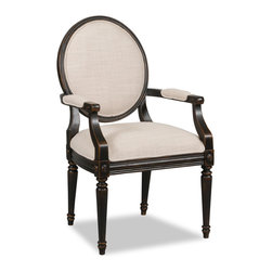 """Hooker Furniture - Decorator Chair - Arm Chair 7 - White glove, in-home delivery!  For this item, additional shipping fee will apply.  Fabric: Linosa Linen  Finish: Antique Black  Seat height: 20 1/2""""  Seat depth: 17 1/2""""  Arm height: 26""""  Side chair is in a set of two chairs.  Arm chair sold individually."""