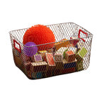 Design Ideas - Net Mesh Storage Basket - Red Handle, Large - Meet the Net. Cool wire storage baskets, accented with red silicone handles. Store towels, cleaning supplies, hangers, balls, water bottles or odds and ends in the garage.