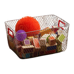 Design Ideas - Net Mesh Storage Basket With Red Handles - Meet the Net. Cool wire storage baskets, accented with red silicone handles. Store towels, cleaning supplies, hangers, balls, water bottles or odds and ends in the garage.