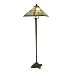 Dale Tiffany - Dale Tiffany TF10497 2 Light Tiffany Mission Floor Lamp - Traditional / Classic 2 Light Tiffany Mission Floor Lamp with Art Glass ShadeFeatures:
