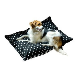 Bosco Dog Bed - If your pooch already loves lounging on your upholstered furnishings you and your dog can reach a compromise with Bosco Dog Bed. The removable machine-washable cover is made with upholstery-grade cotton and has a sturdy hidden zipper. Filled with 100% post-consumer recycled plastic poly-fiber fill for maximum comfort and eco-friendliness this pillow-style dog bed is available in 3 striking color choices that feature screen-printed designs. Double-sewn knife-edge seams are finished with decorative cording preventing chewing or destruction. Proudly made in the USA.Choose from the following sizes:Extra Small dimensions: 24L x 18W x 4H inchesMedium dimensions: 42L x 30W x 6H inchesLarge dimensions: 48L x 36W x 6H inches