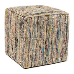 Anji Mountain - Anji Mountain Topaz Saree Pouf - This pouf brings some stylish versatility to your living space. Perfectly sized for duty as a stool or an ottoman and ready to switch gears at a moments notice. It sits nice and firm for excellent support yet offers a touch of comfort with a cushioned top. The cover is made from carefully selected recycled material from vintage Indian sarees and features a dazzling beige pile with multi-color highlights. Pouf (1)