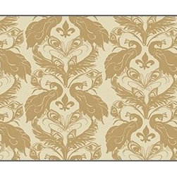 Casart coverings - French Damask, Down/Ginger Wallcoverings, Down/Ginger, Stair Riser (2 Sq Ft), Ca - French Peacock Damask is unmistakably French with its fleur de lis!
